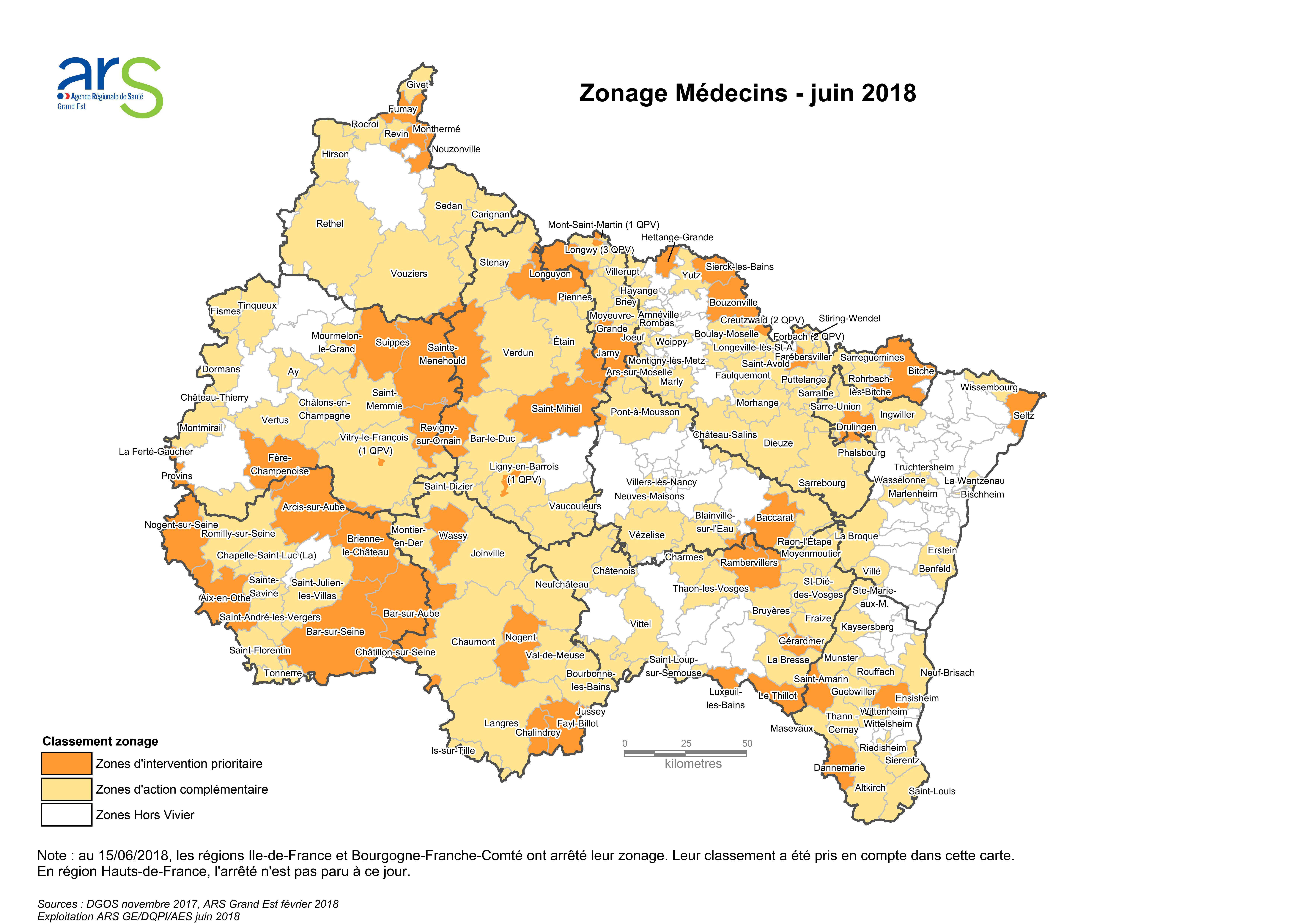 Cartographie relative au zonage médecin 2018